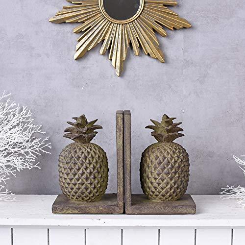 Ananas Figur Buchstützen Pineapple Buchständer Skulptur Früchte Vintage Palazzo Exklusiv