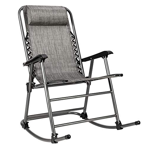 Knocbel Folding Rocking Chair, Zero Gravity Outdoor Lounger for Patio Lawn Pool Porch Deck, 350lbs Weight Capacity (Gray)