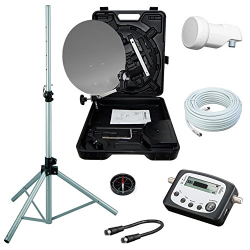 netshop 25 Camping SAT Koffer 40cm Spiegel + Single LNB + 10m Kabel + Digital SAT-Finder + Dreibein-Stativ