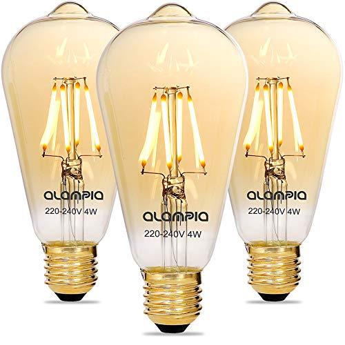 Alampia Edison Vintage Glühbirne E27 Dimmbar LED Lampe, 4W 2200K Warmweiß Dekorative Leuchtmittel Licht, Retro Glühbirne Beleuchtung für Häuser, Cafés, Bars, Familie, Hotel, Bar, Nostalgie, 3 Stück