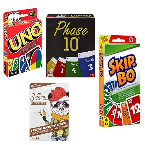 Mattel Spar-Set 169882 - 4er Set Kartenspiele: UNO, Skip BO, Phase 10 und Snappy Dressers