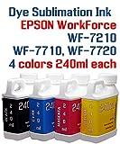 Dye Sublimation Ink - WorkForce WF-7210 WF-7710 WF-7720 printer - 4 multi-color bottles 240ml each color Dye Sublimation ink Heat Transfer printing