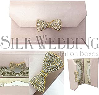 Glorious Dusty Pink Sweet Sixteen Invitation Folio With Shimmering Golden Brooch
