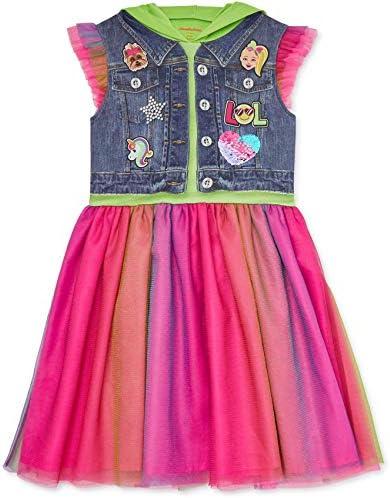 JoJo Siwa Big Girls Hooded Flutter Sleeve Costume Dress Bow Green 6 6X product image