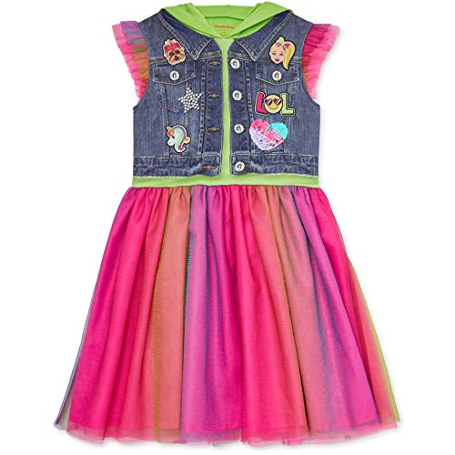 JoJo Siwa Big Girls Hooded Flutter Sleeve Costume Dress Bow Green 7/8