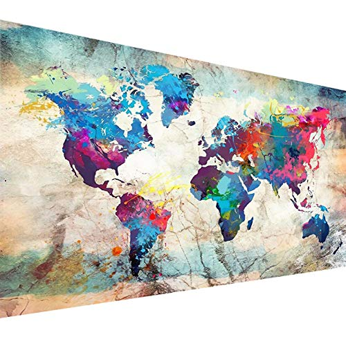 Diamond Painting Kits for Adults, YALKIN DIY Large 5D Diamond Painting World Map (31.5 x 15.7 inch) Paint by Number with Gem Art Drill Dotz Diamond Painting Kits for Kids for Home Wall Décor