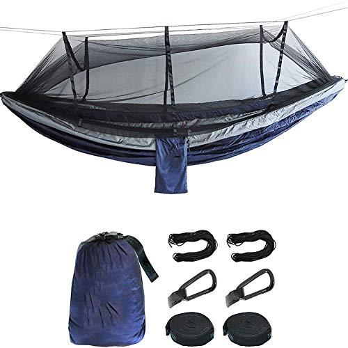 Nologo - Hamaca de camping para cama individual o doble con mosquitera portátil hamacas para árboles
