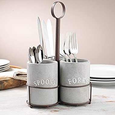 KOVOT Cement Utensil Caddy Set | Includes (3) Cement Covered Ceramic Utensil Holders & Metal Wire Frame