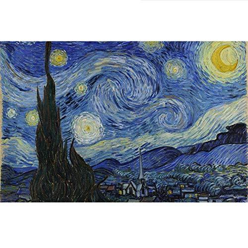 Diy Pintura Al Óleo Por Números Sobre Lienzo Con Dibujos Para Colorear Imágenes Dibujo Decoración Para El Hogar Noche Estrellada 40x50cm Sin Marco