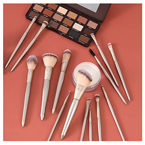 Make up Pinselset Werkzeuge 15Pcs Schminkpinsel Foundation Puderpinsel Champagner Gold Professional...