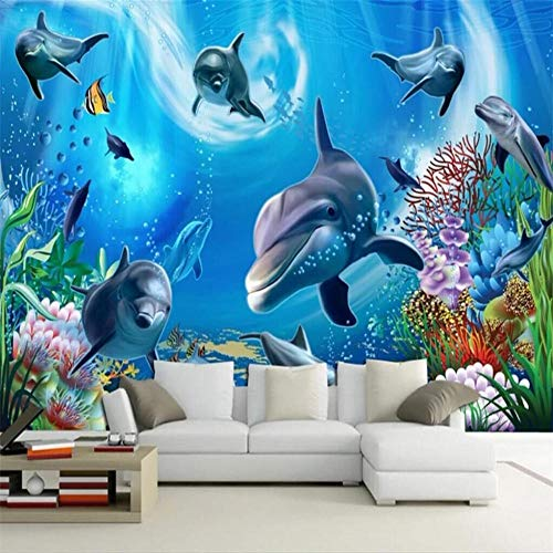 Mural Wallpaper Wall Murals3D Undersea World Aquarium Kinderkamer Cartoon Achtergrond Muur Fabrikant Groothandel Wallpaper Mural Op maat gemaakte fotomuur About 400*280cm 3 stripes