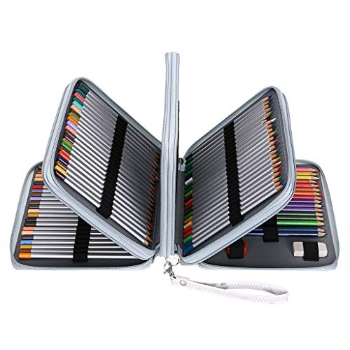 BTSKY 160 Slots Colored Pencil Case- Deluxe PU Leather Handy Pencil Holder Organizer Zipper Pencil Box Large with Handle Strap for Colored Pencils Watercolor Pencils(White Marble)