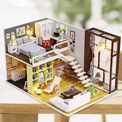Pratcgoods Wooden DIY Miniature Creative LED House Children's Toys Puzzle Dollhouse Kit Miniature DIY Library House Kits Best Birthday Gifts for Teens
