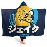 Manta Reversible de Franela Sherpa Manta Tipo Sudadera Jake El Perro Texto En JaponésManta para Cama de Microfibra Extra Suave Manta de Felpa