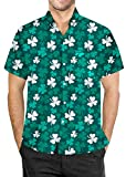 St Patrick's Day Men Irish Shamrock Printed Hawaiian Shirt Short Sleeves Button Down Clover Top L