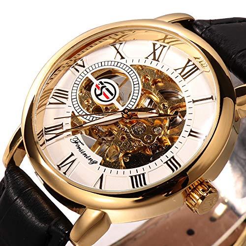 Hombre Reloj Mecánico Automático Automático Estilo Formal Lujo Hueco Grabado Analógico Negro/Blanco Dorado + Negro Negro/Plata/Acero Inoxidable/Cuero de PU/Noctilucente