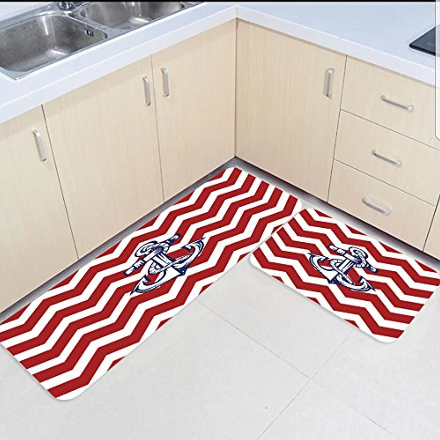 HomeCreator Non Slip 2pc Kitchen Area Rugs Corrugated Anchor Absorbent Antibacterial Indoor Door Mats Set for Kitchen Dining Living Rug Runner 23.6 x35.4  23.6 x70.9