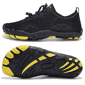 hiitave Boys Water Shoes Kids Non-Slip Barefoot for Swim Beach Pool Hiking Aqua Sport Outdoor Black/Yellow 6 M US Big Kid