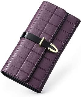 Fashion Ladies Long Leather Card Holder Purse Zipper Buckle Elegant Clutch Wallet (Color : Purple, Size : 19 * 10 * 2CM)