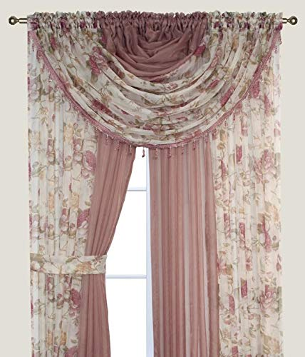 """Complete Window Sheer Voile Curtain Panel Set with 4 Attached Panels (55x84"""" Each) and 2 attached Valances with Beads and 2 Tiebacks - Easy Installation - Multicolor Floral Rose and Solid Taupe/Brown"""