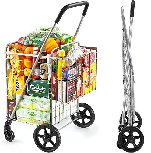 Wellmax Shopping Cart with Wheels Metal Grocery Cart with Wheels Shopping Carts for Groceries Folding Cart for Convenient Storage and Holds Up to 66lbs Dual Swivel Wheels and Extra Basket Silver