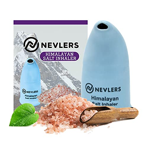 Nevlers All Natural Ceramic Himalayan Salt Inhaler with All Natural Himalayan Pink Crystal Salt - Great for Allergy and Asthma Relief - Handheld and Portable - Blue