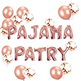 JeVenis Set mit 11 roségoldenen Pajama Party Luftballons Pajama Party Banner Pyjama Party Dekor Schlummer Party Spa Party Luftballons.