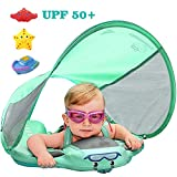Upgrade 3rd Generation Baby Solid Swimming Float Non Inflatable Mambobaby Swim Trainer Pool Floats Swimming Ring Mambo Float Mambobaby Float with Canopy Swim Ring with Sun Shade UPF 50+(GreenC)