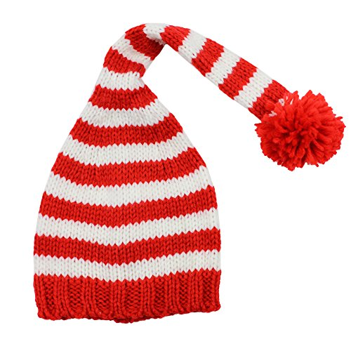 juDanzy red & White Stripe Christmas elf hat for Babies (6-12 Months)