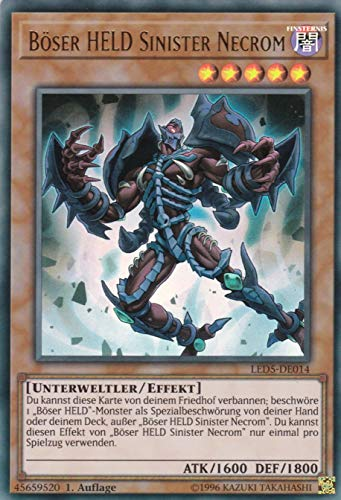 LED5-DE014 - Böser HELD Sinister Necrom - Ultra Rare - Yu-Gi-Oh - Deutsch - 1. Auflage im Set mit Ultra Pro Toploader und Ultra Pro Schutzhülle (Klarsicht)