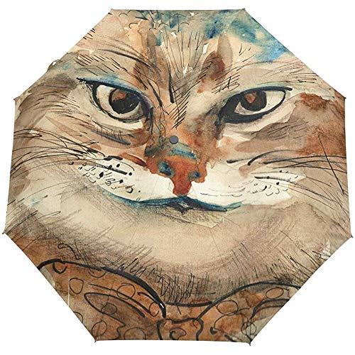 EW-OL Wonderland Cat mit Krawattenschleife Regenschirm Winddicht Regen Automatik Öffnen Schließen Klappbare Reise Anti-UV-Sonnenschirme