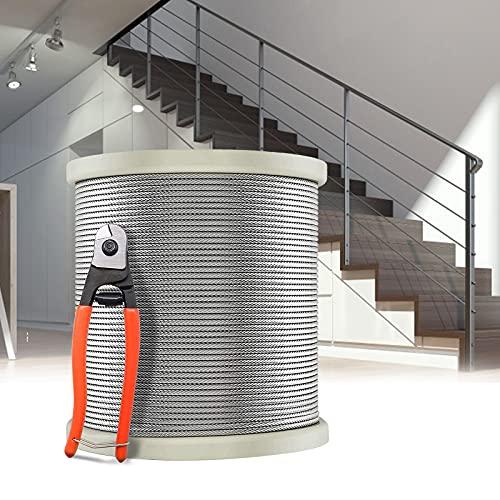 Cable de Acero Inoxidable, PaNt T316 Cuerda de Alambre 100m Kit de Barandilla de Cable 3mm de...