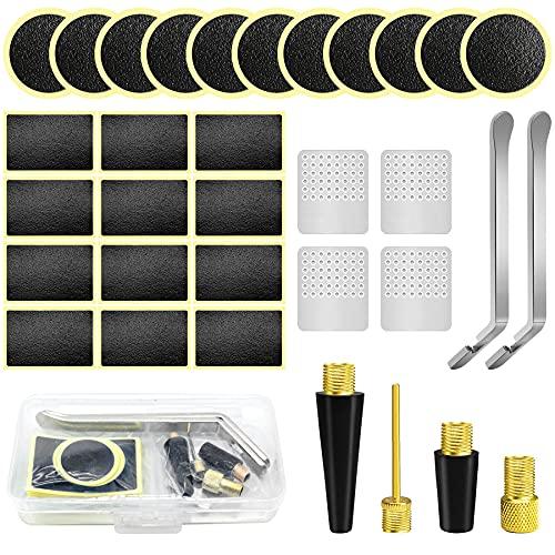 Olerqzer Kit de parches adhesivos para neumáticos bicicleta, juego reparación adaptador válvula, 24 redondos cuadrados, bicicleta carretera, montaña o viajeros.