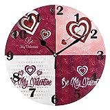 Jacque Dusk Reloj de Pared Moderno,Flores de corazón Feliz día de San Valentín,Grandes Decorativos Silencioso Reloj de Cuarzo de Redondo No-Ticking para Sala de Estar,25cm diámetro