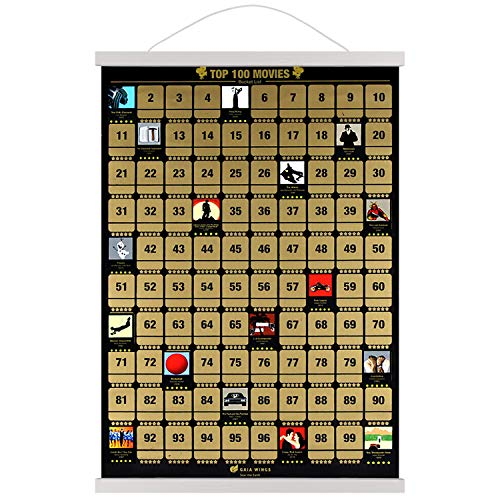 100 Movies Scratch Off Poster with Hanging Frame 17' (White) - Iconic Movie Bucket List Top Films of...