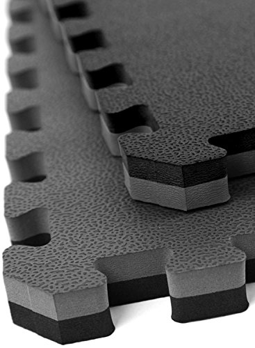 "IncStores - 1"" MMA Interlocking Foam Tiles (Black/Grey, 4 Tiles (3ft x 3ft Tiles) 36 sqft) - Perfect for Martial Arts, Lightweight Home Gyms, p90x, Exercise"