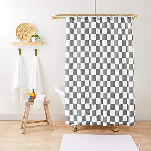 Fmfunctex Duschvorhang aus Stoff, wasserabweisend, Schachbrett-Muster, 183 x 183 cm, geometrisches klassisches Karo-Design, moderner Duschvorhang für Badewanne, 1 Paneel