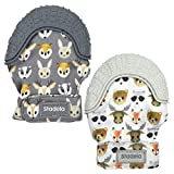 Stadela Baby Soothing Teething Mittens, Food Grade Silicone Teether Toy with Travel Bag, Unisex for Boy or Girl, Baby Shower Gift, Set of 2, Forest Animals, Gray (Woodland Cubs)