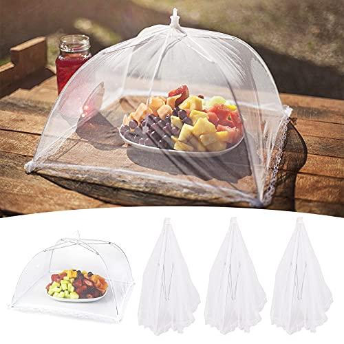 Yisscen Cloche Alimentaire Pliable 4pcs Cloche Parapluie Anti-Insectes Couverture de Nourriture en Maille Cloche Salade de Jardin Pop-up Aliments Tente Couverture alimentaire Pique-nique Barbecue