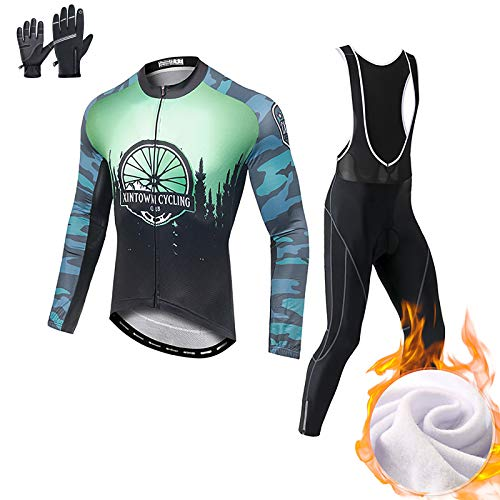 LINGYUN Winter Breathable Cycling Suits for Men, Long Sleeve Thermal Fleece Cycling Jersey with 3D Gel Padded Bib Pants, for Mountain Bike, Road Bike,L