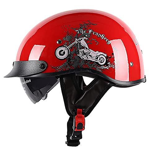 PRETAY Casco De Moto Medio Casco Casco De Cara Abierta Cerebro Cruiser Chopper Patineta Casco De Seguridad Ciclomotor Gafas Incorporadas De LiberacióN RáPida (Color : F, Size : M(53~54cm))