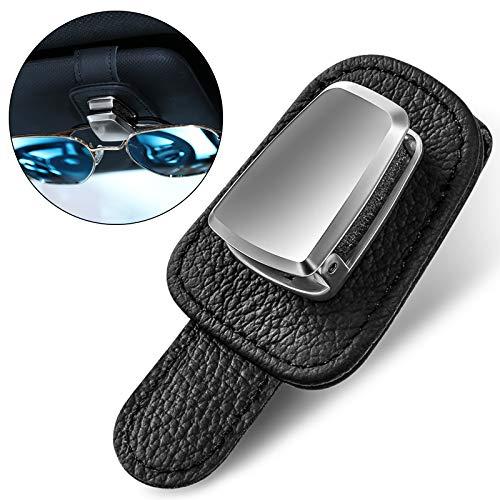 Auto Brillenhalter aus Schwarzem Leder Brille Aufhänger und Fahrkarte Karte Clip Universal Auto Visier Sonnenbrille Halter Clip Visier Sonnenbrille Klemme Brillen Halterung für Auto