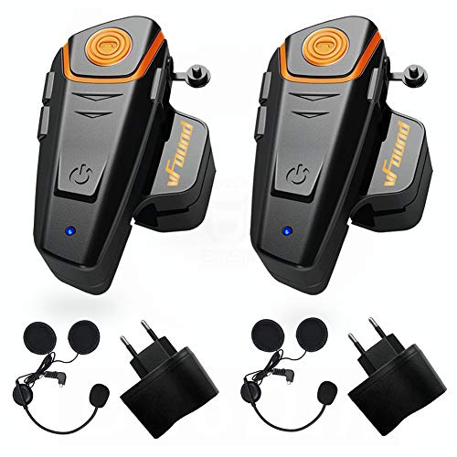 Qaurora BT-S2 1000 M Bluetooth Headset Impermeable, Casco Intercomunicador Interphone Móvil para 2 o 3 Jinetes y 2,5 mm de Audio para Walkie Talkie GPS (2 Pieza)