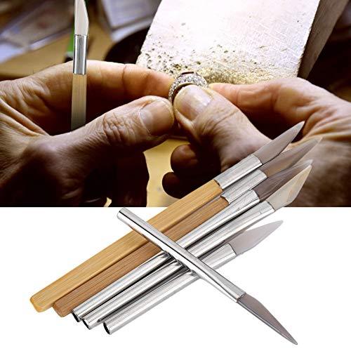 Cuchillo de ágata, juego de bruñidor de ágata con filo de cuchillo, herramientas de pulido artesanal, tallado de metales preciosos con hierro de bambú H para la fabricación de joyas de plata dorada