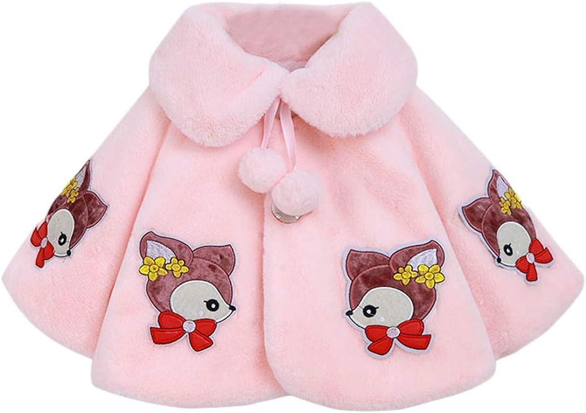 Cozomiz Girls Princess Faux Fur Jacket with Pompom Wraps Shawl Bolero