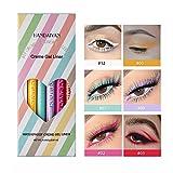 GL-Turelifes - Juego de delineador de ojos líquido mate de 6 colores, lápiz delineador de ojos colorido resistente al agua, lápiz delineador de ojos mate de larga duración (A)