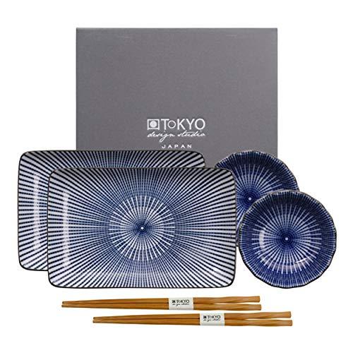 TOKYO design studio Sushi Geschirr Set | Sushi Servier Set 6-TLG für 2 Personen | Erhältlich in 6 Varianten | Porzellan | 2 Sushi Teller, 2 Dipschälchen, 2 Par Essstäbchen | Geschenkbox | Blue Lines