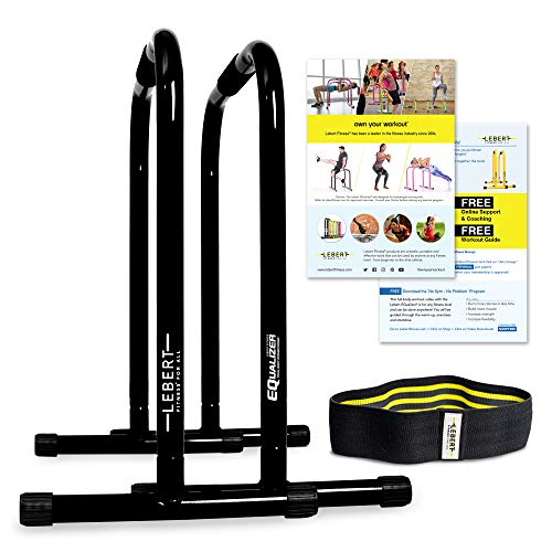 Lebert Fitness Dip Bar Stand - Original EQualizer Total Body Strengthener Pull Up Bar Home Gym Exercise Equipment Dipping Station - Hip Resistance Band, Workout Guide and Online Group - Black (XL)