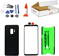 (md0410) Black Front Outer Glass Lens, Back Cover Replacement Compatible Galaxy S9 G960 + Repair Tools Kit (LCD Screen & Touch Digitizer Not Included)