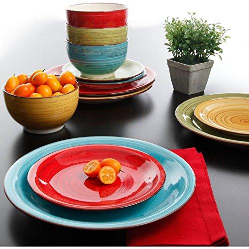 Better Homes & Gardens Festival Dinnerware, Assorted Colors - Set of 12